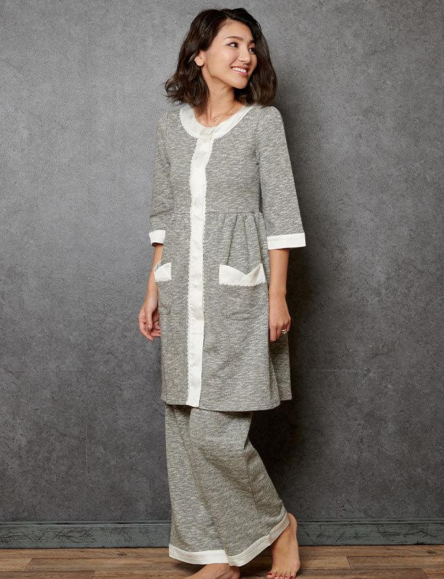 マタニティウェア授乳服 上質なコットン100%メランジスウェット 配色ナイティ 3点セット パジャマ