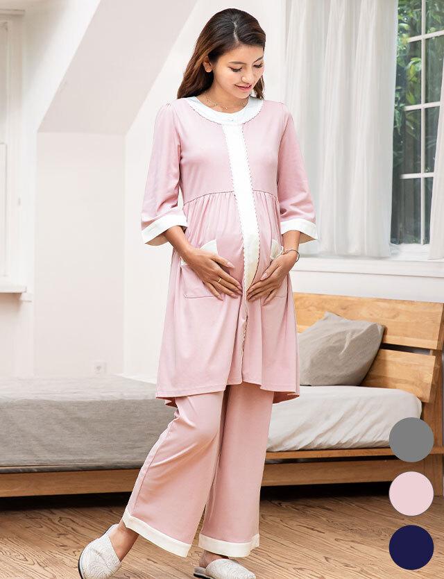 【送料無料】マタニティウェア授乳服 上質なコットンフライス 配色ナイティ 3点セット パジャマ