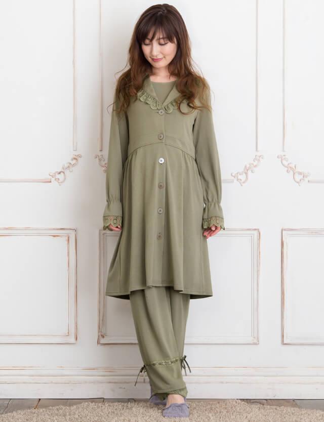 【ギフトA】ショールカラーナイティ マタニティパジャマ 3点セット 授乳服マタニティウェア