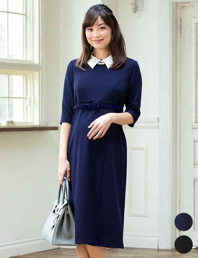 mamagirl掲載 カットジョーゼット付け襟ミディワンピース 授乳服マタニティウェア
