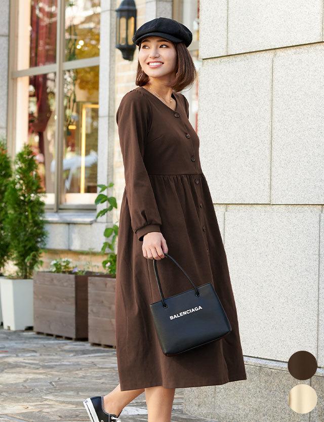 【早割10%OFF】Vネックフライスカジュアルワンピ 授乳服マタニティウェア
