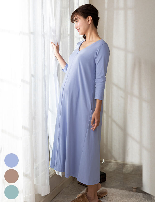 【2点9800円対象】授乳服マタニティウェア 裾2WAYシンプル パジャマ 産前産後兼用