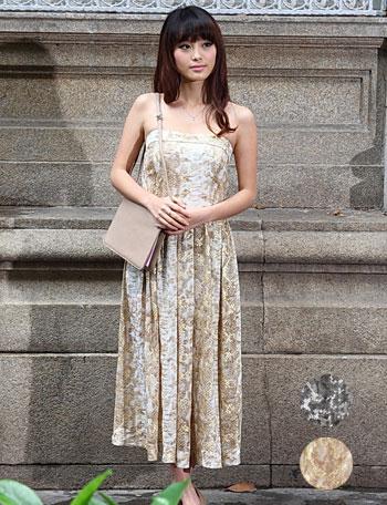 【クリアランスセール】授乳服マタニティウェア 優雅な輝きを放つ箔プリント シフォン授乳ロングワンピース