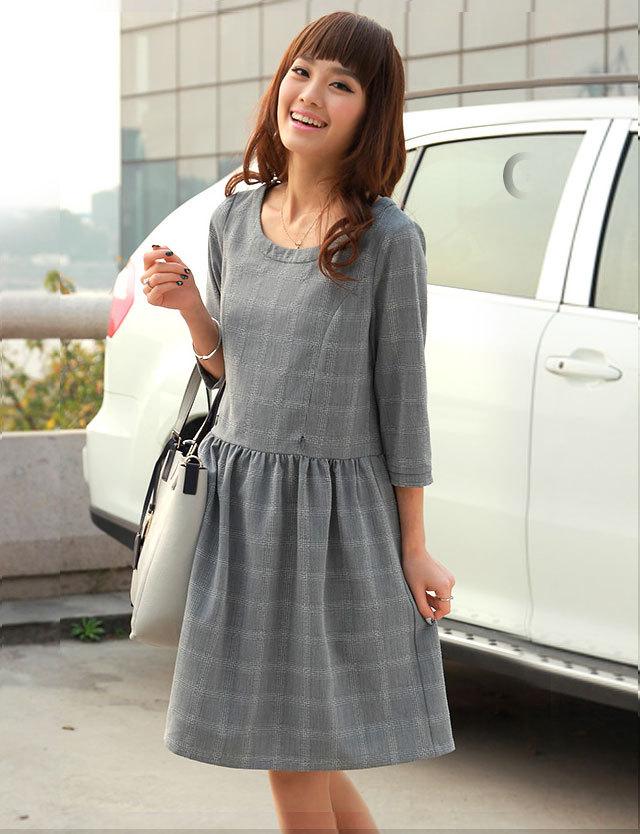 【SALE4月24日まで】授乳服マタニティウェア グレンチェック 7分袖 授乳ワンピース 長袖
