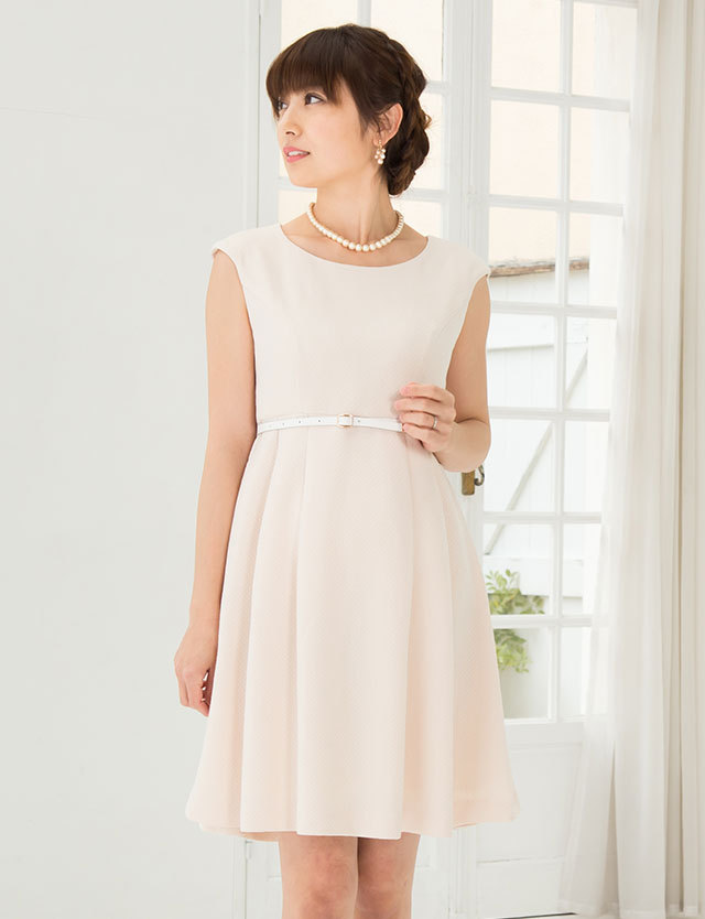授乳服マタニティウェア ベルト付き ソフトツイードワンピ―ス マタニティウェア ドレス