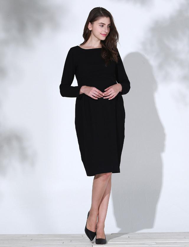 【セール11月14日まで】ボートネックタックワンピース so6111 授乳服マタニティウェア