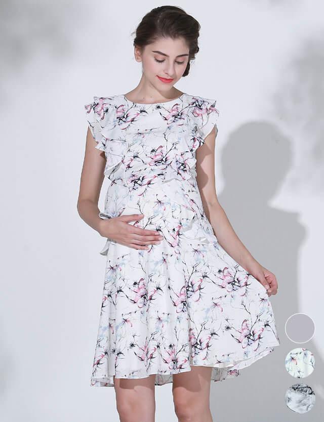 【SALE4月24日まで】プリントフリルワンピース 授乳服マタニティウェア