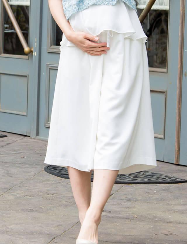 【開店記念SALE~8/24】マタニティ ガウチョパンツ 裏地付きで透けにくい sp7011 産前産後兼用