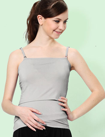 授乳服マタニティウェア お肌に優しい竹繊維 シンプルバンブーキャミソール(パッド付き) st1305