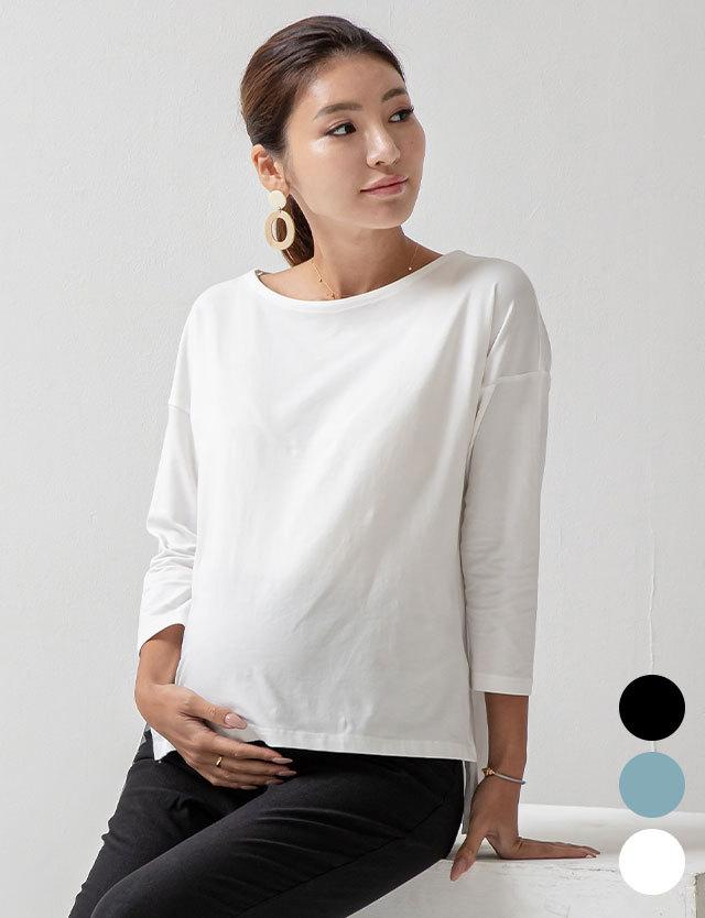 【2021年新作】 ドロップショルダー ボートネック授乳Tシャツ 産前産後兼用 授乳服マタニティウェア