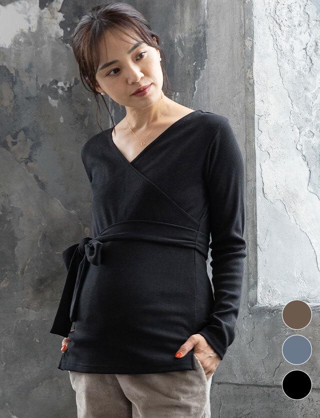 【3点9800円対象】【2021年新作】リブニットカシュクールトップス 産前産後兼用 授乳服マタニティウェア