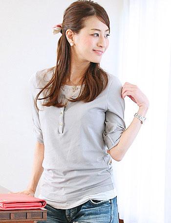 【クリアランスセール】授乳服マタニティウェア ヘンリーネック 重ね着風 授乳Tシャツ st4017 長袖/トップス