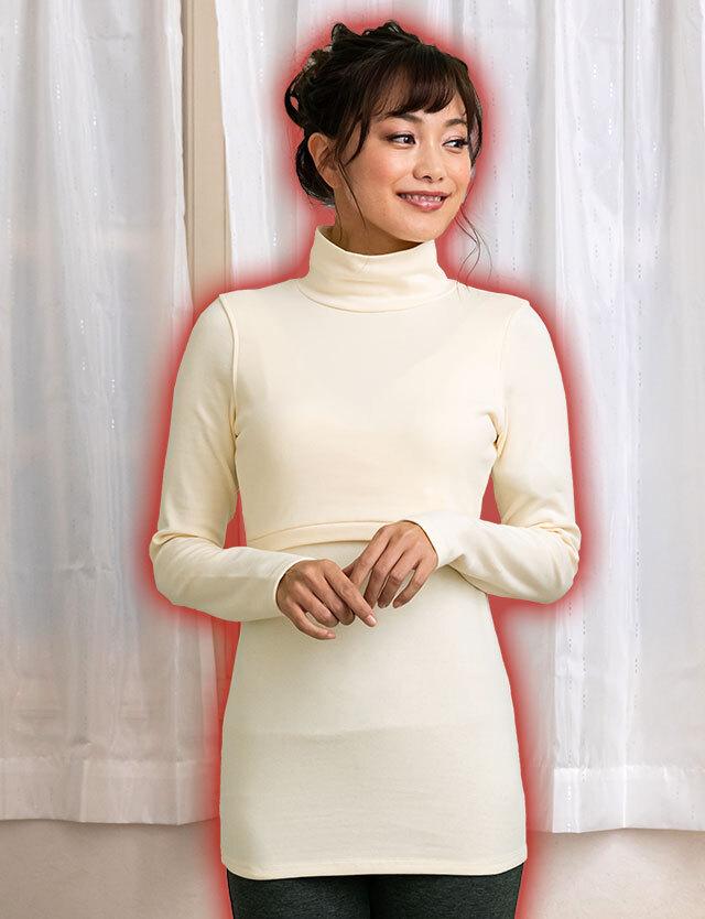 【BASICまとめ買い】授乳服マタニティウェア あったか裏起毛 授乳タートルネック st4100