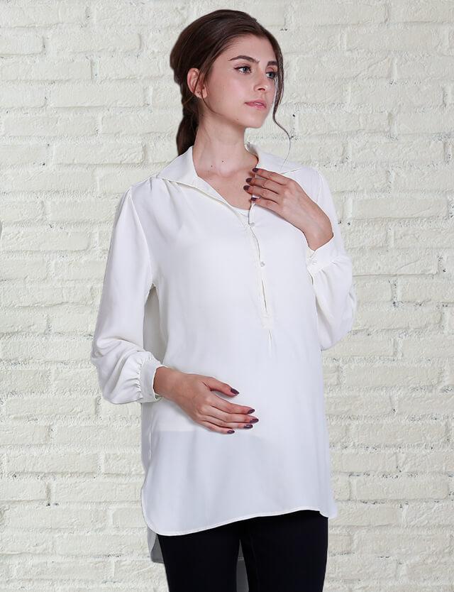 【再入荷特別価格】授乳服マタニティウェア オブロング カラーシャツブラウス 竹繊維 授乳タンクトップセット