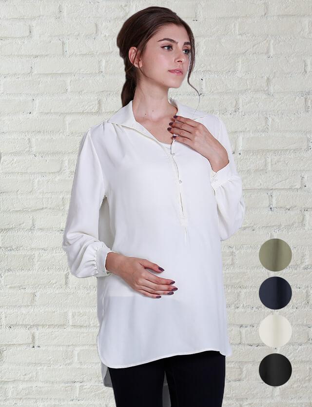 【2点9800】授乳服マタニティウェア オブロング カラーシャツブラウス 竹繊維 授乳タンクトップセット
