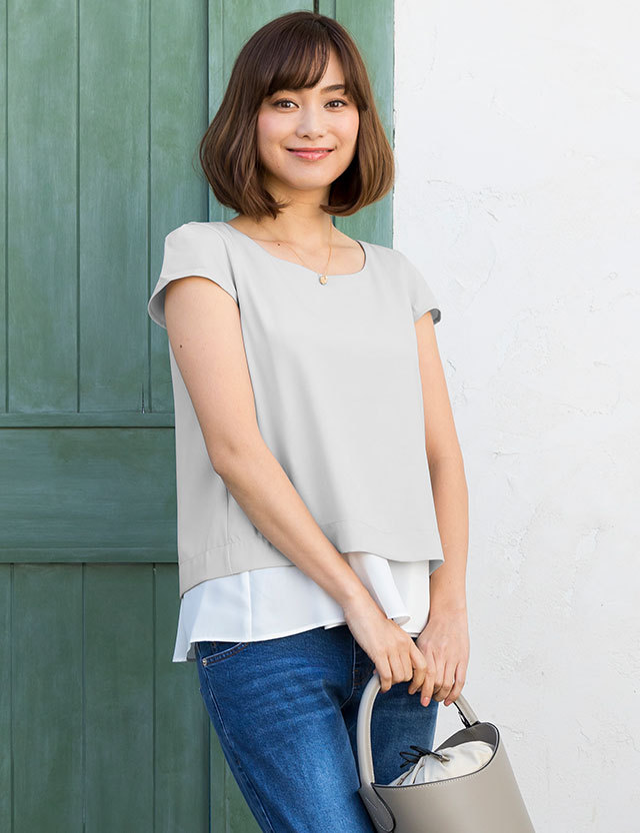 【TIME SALE~7/4】授乳服マタニティウェア レイヤードがおしゃれ! ジョーゼット素材 重ね着風 授乳トップス