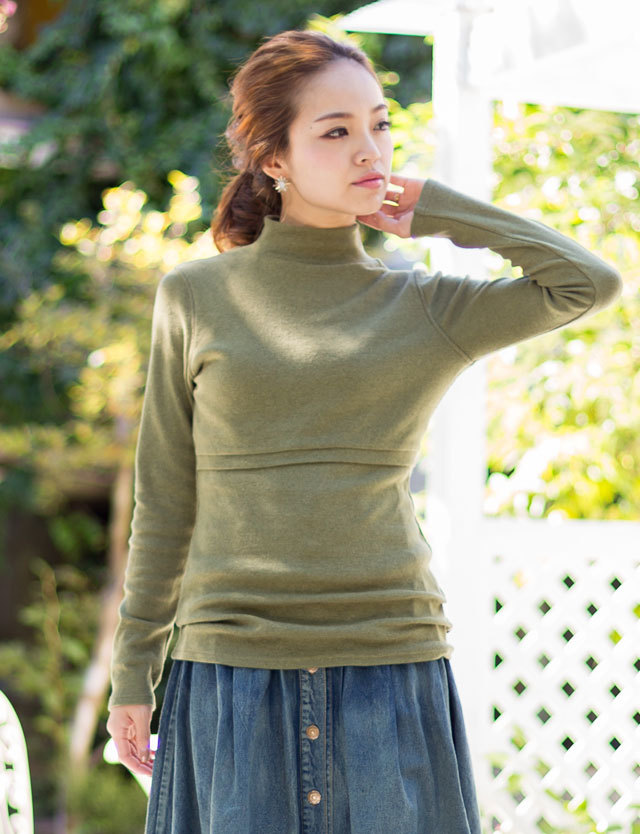 【BASIC割】授乳服マタニティウェア 暖かコットンリブ素材 授乳服ハイネック st5143 トップス/インナー