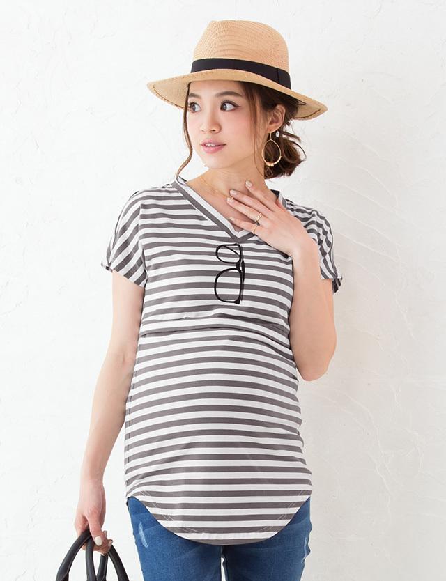【TIME SALE~7/4】サングラスプリント授乳Tシャツ st6055 授乳服マタニティウェア/メガネTシャツ/だまし絵T