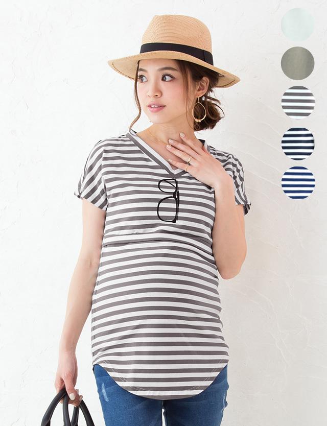 【SALE7月5日まで】サングラスプリント授乳Tシャツ st6055 授乳服マタニティウェア/メガネTシャツ/だまし絵T
