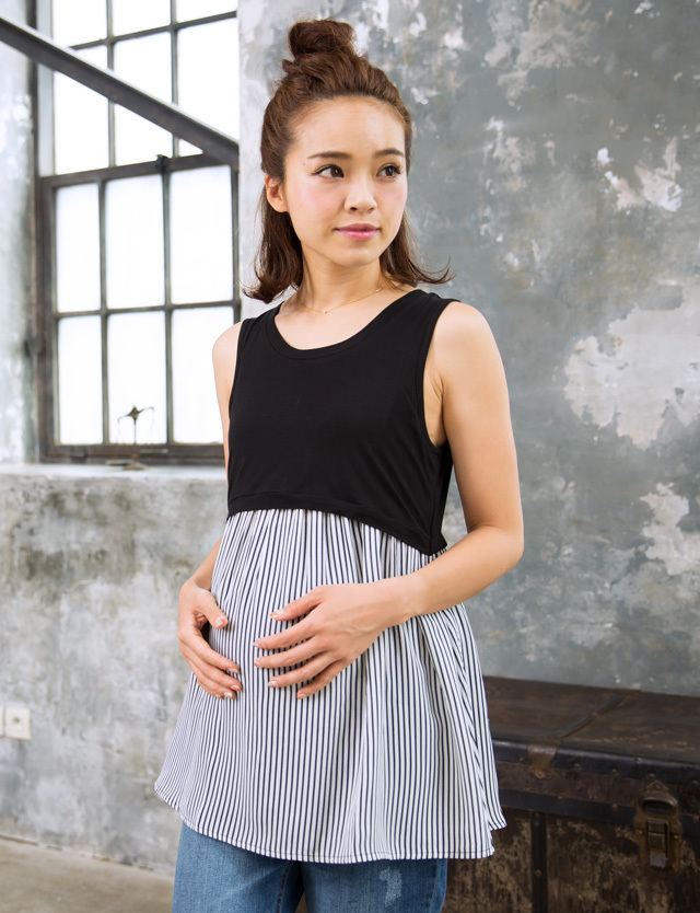 【TIME SALE~7/4】竹繊維 裾フリルタンクトップ st6072 産前産後兼用/授乳服/マタニティウェア