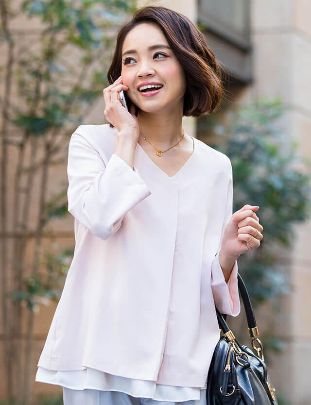 【開店記念SALE~8/24】フロントタック ベルスリーブブラウス きれいめツイルジョーゼット素材 st7018 授乳服マタニティウェア