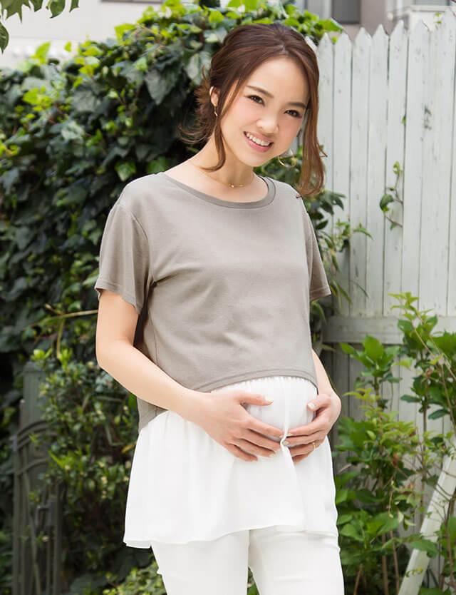 ショートTEE&裾フリルキャミセット st7041 授乳服/マタニティウェア