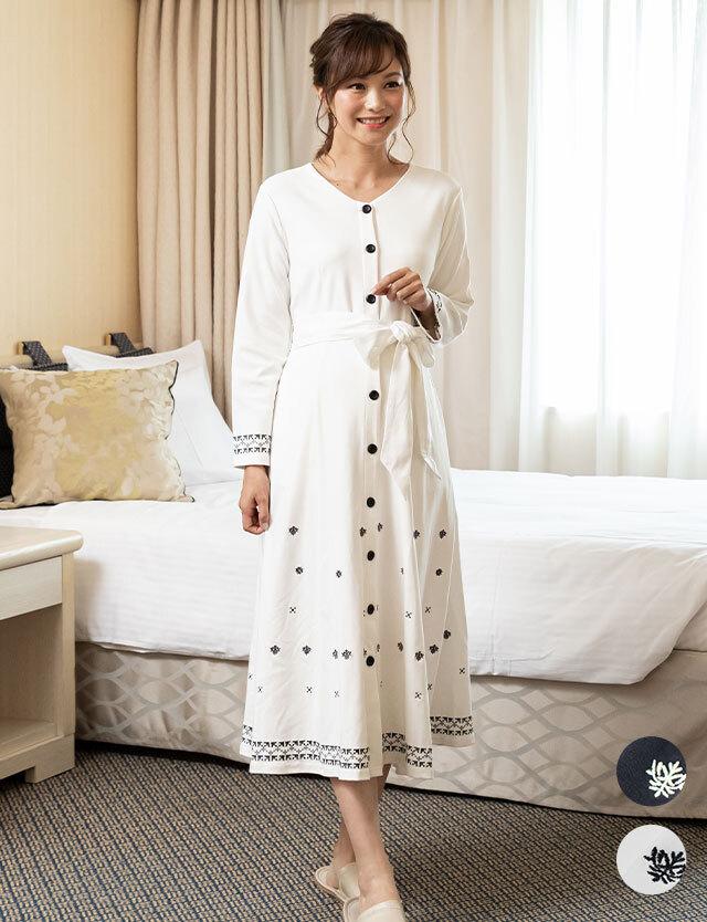 【セール4月15日まで】素肌思いパジャマ 刺繍入りエレガントマタニティパジャマ   産前産後兼用