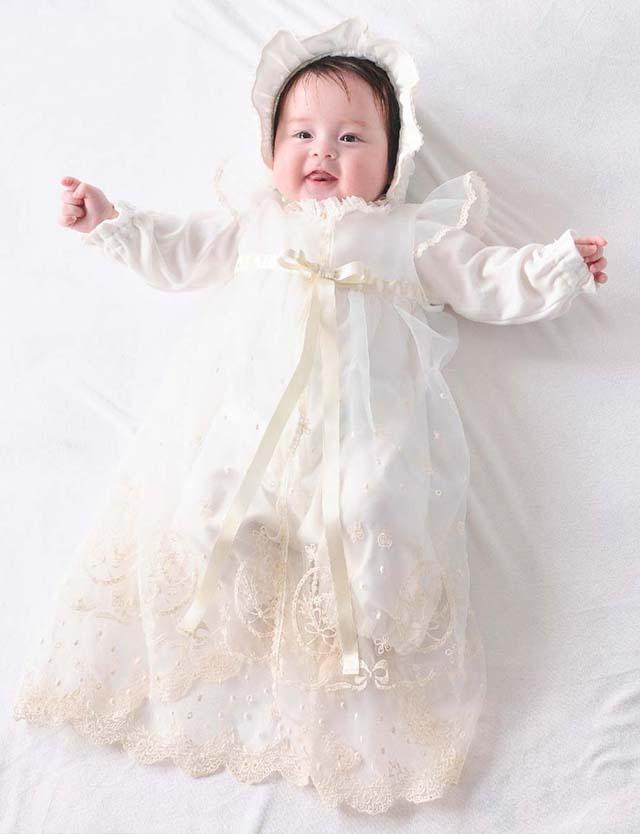 Youseino mori 妖精の森 クラシカルレースのセレモニードレス3点セット ホワイト yc030 赤ちゃん/ベビー服 【日本製】