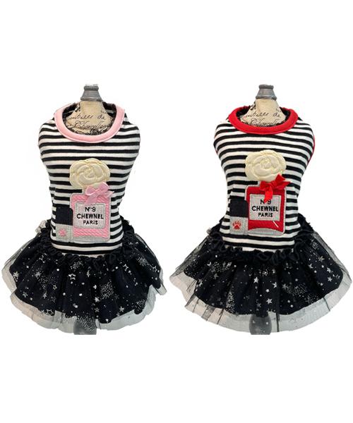 ※先行予約販売※【Luna Blue★ルナブルー】CHEWNEL BORDER PERFUME Dress