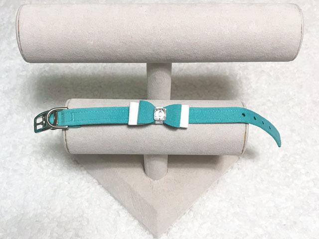 【Susan Lanci★スーザンランシー】Two Layer Big Bow Collar(Bimini×Premium White×Bimini)