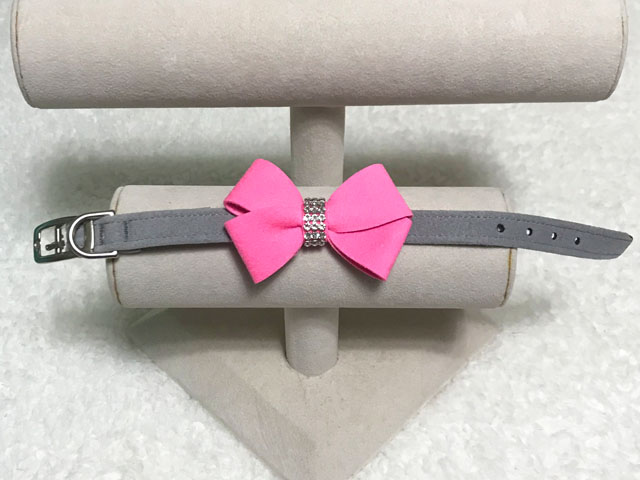 【Susan Lanci★スーザンランシー】Nouveau Bow Collar(Platinum×Perfect Pink)