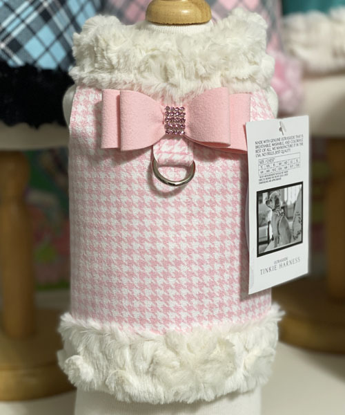 【Susan Lanci★スーザンランシー】ハーネス ベスト/Puppy Pink Houndstooth