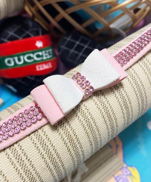 ※アウトレット商品※【Susan Lanci★スーザンランシー】Big Bow Collar/PW×Puppy Pink/Pink GM