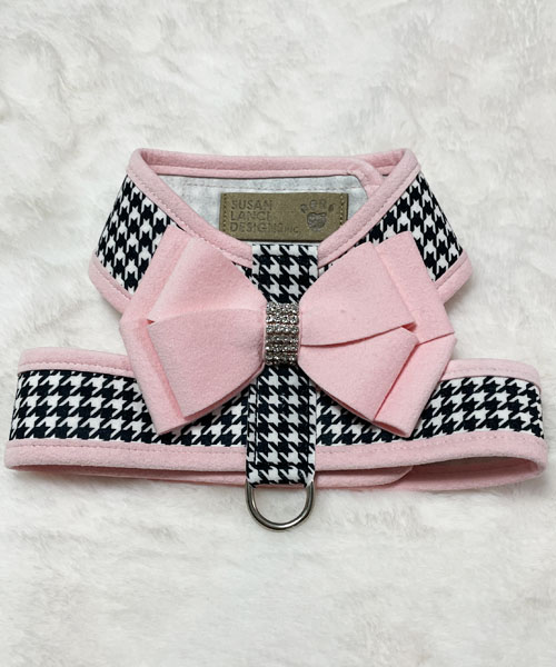 【Susan Lanci★スーザンランシー】Nouveau Bow Tinkie Harness/Puppy Pink/Houndstooth