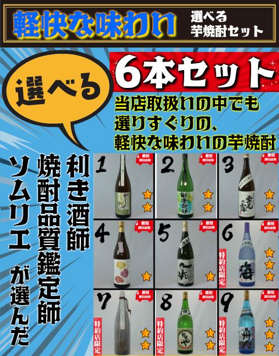 【軽快なタイプの焼酎】 選べる飲み比べセット 25度 1800ml 6本セット 芋焼酎