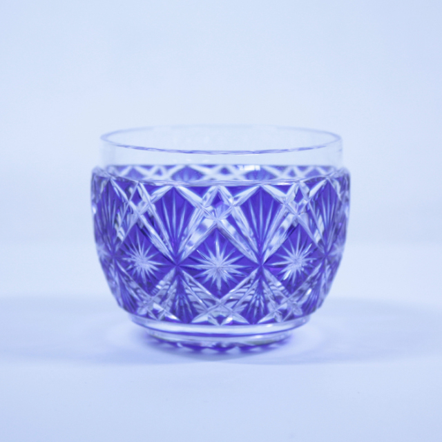 【薩摩切子】 猪口 [藍] クリスタルガラス製 鹿児島 MIRIYU工房 おちょこ