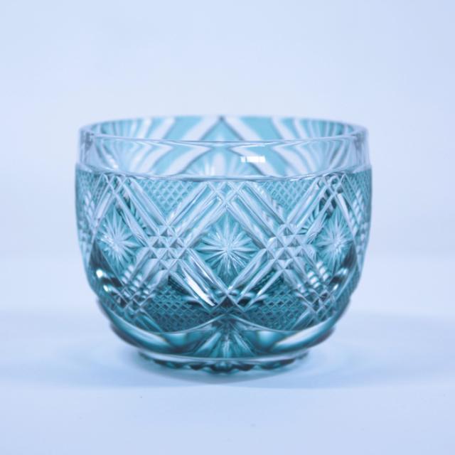 【薩摩切子】 猪口 [非対称 緑] クリスタルガラス製 鹿児島 MIRIYU工房 おちょこ