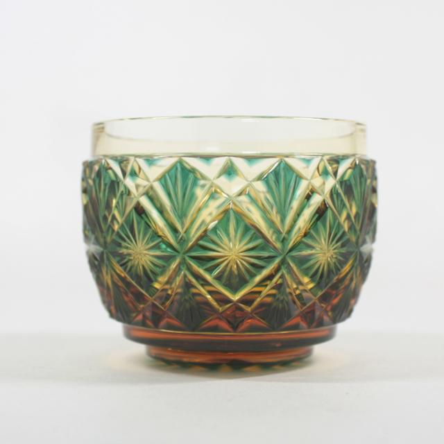 【薩摩切子】 猪口 [緑アンバー] クリスタルガラス製 鹿児島 MIRIYU工房 おちょこ