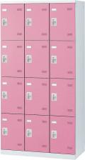 SLBP-12-S2 (シリンダー錠・扉色 ピンク) SEIKO FAMILY 生興 12人用ロッカー 幅900×奥行515×高さ1800mm