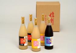 信州産 果汁100%フルーツジュースセット 780ml×5本【951】(りんご2本,ピーチ2本,ぶどう1本)