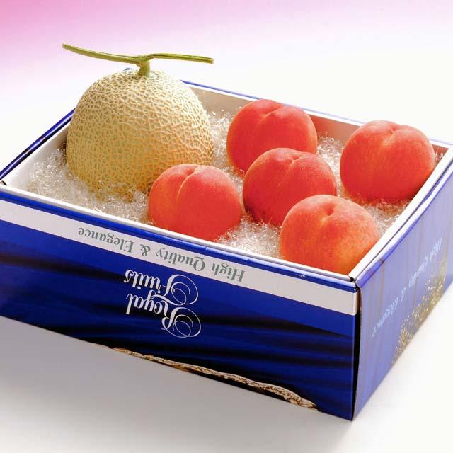 メロンギフト メロン1玉&水蜜桃5玉詰合せ