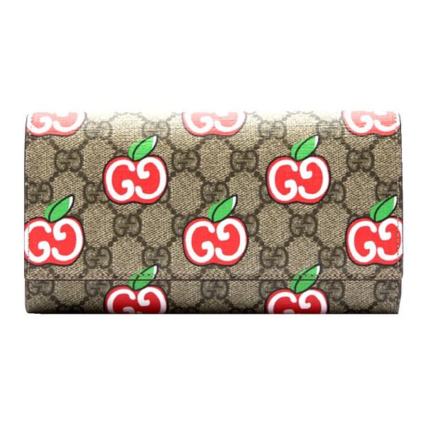 ≪新品≫GUCCI グッチ GGアップル コレクション ロング フラップ ウォレット 長財布 リンゴ プリント GG アップル パッケージ 箱 リボン ショッパー ラッピング
