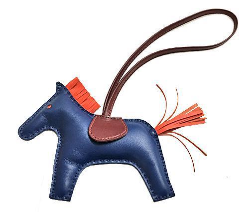 ≪送料無料≫エルメスロデオ「GRIGRIRODEO」馬革チャームMMブルードマルト×フー