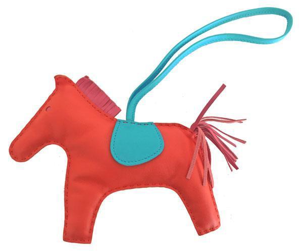 ≪送料無料≫新品エルメスロデオ「GRIGRIRODEO」馬革チャームGMオレンジポピー×ブルーサンシール×ローズアザレ