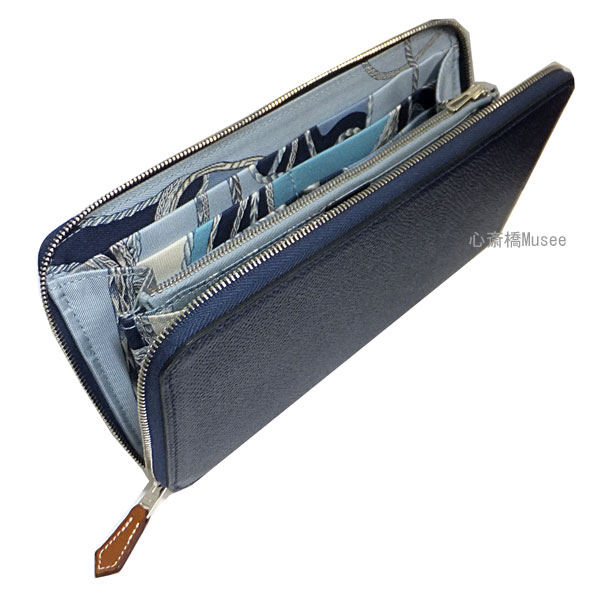 ≪新品≫箱・リボンでのラッピング エルメス アザップ シルクイン ラウンドファスナー ブルーサフィール×ブルーラン BLUESAPHIR BLUELIN シルバー金具