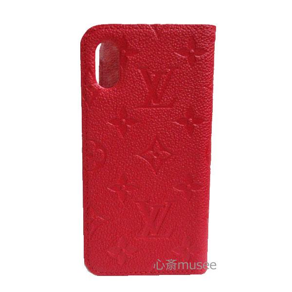 ≪新品≫ルイヴィトン iphone X 10 10S フォリオ モノグラム アンプラント スカーレット レッド 赤  二つ折り スマホ 携帯ケース アクセサリー モバイル M63588 LOUISVUITTON ビトン アイフォンケース プレゼントラッピング