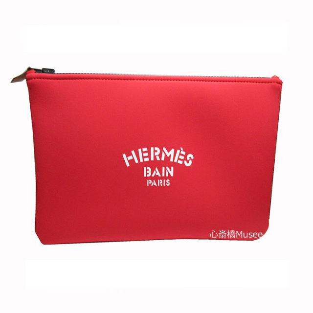 ≪新品≫HERMES エルメス ネオバン フラット ポーチ MM 中 ルージュ 紙袋 リボン Neobain