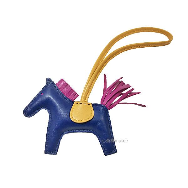 《新品》エルメス ロデオ 「GRIGRI RODEO」 馬 革 チャーム PM ブルードマルト×ジョーヌドール×ローズパープル 箱リボンラッピング