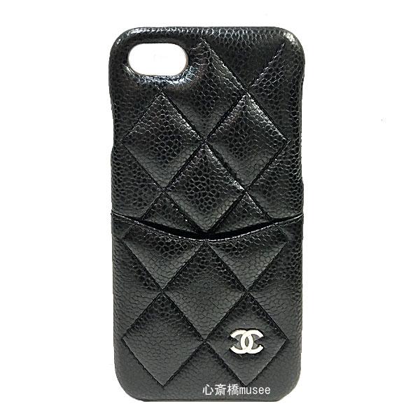 ≪新品≫ CHANEL シャネル 19プレ春夏コレクション 携帯ケース iphone7 8 19P A83563 キャビンスキン 黒×シルバー金具 マトラッセ 新品 箱・リボンでのラッピング