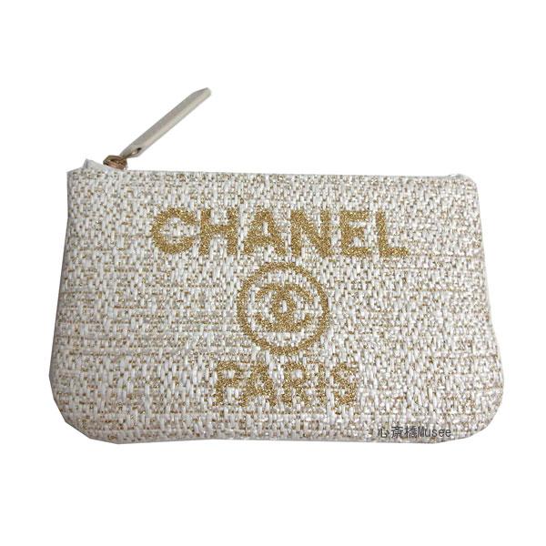 ≪新品≫CHANEL シャネル 19年クルーズコレクション ドーヴィル アイボリー 白 ゴールド ツイード A80758 Y33352 5B648 ポーチ 財布 コインケース カードケース 箱 リボン ラッピング